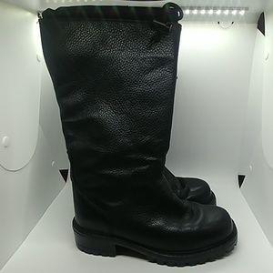 LL Bean tall black pleather lined boots rain snow